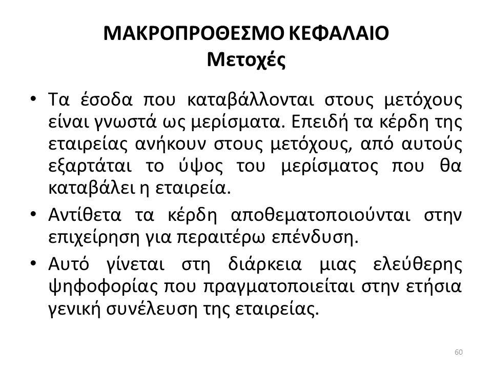 ΜΑΚΡΟΠΡΟΘΕΣΜΟ ΚΕΦΑΛΑΙΟ Μετοχές