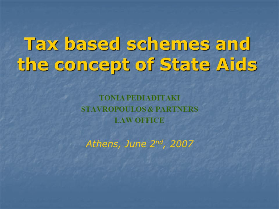Tax based schemes and the concept of State Αids