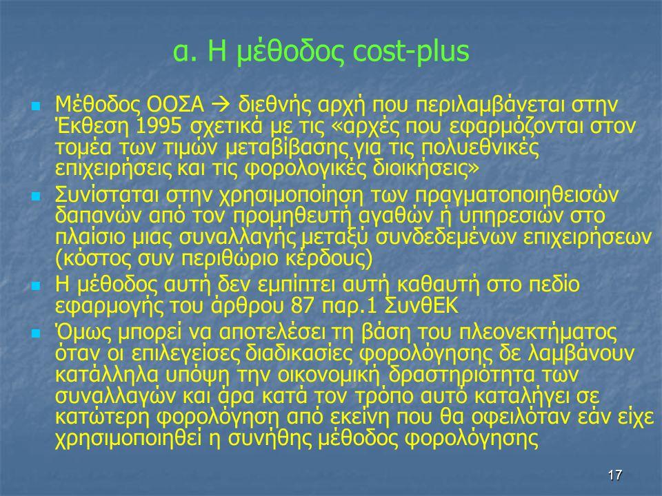 α. Η μέθοδος cost-plus