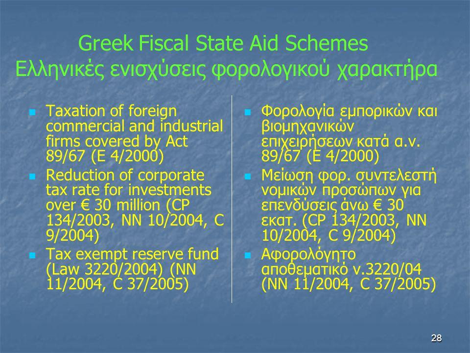 Greek Fiscal State Aid Schemes Ελληνικές ενισχύσεις φορολογικού χαρακτήρα