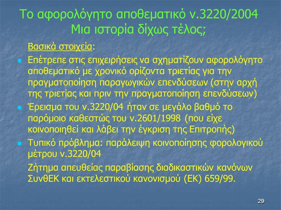 Το αφορολόγητο αποθεματικό ν.3220/2004 Μια ιστορία δίχως τέλος;