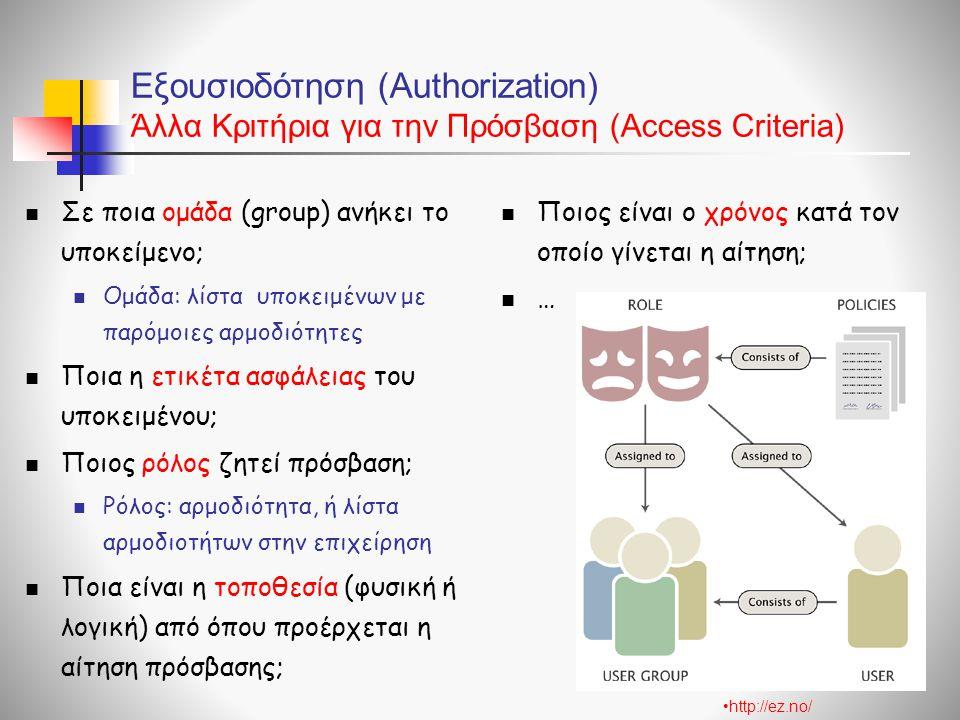 Εξουσιοδότηση (Authorization) Άλλα Κριτήρια για την Πρόσβαση (Access Criteria)