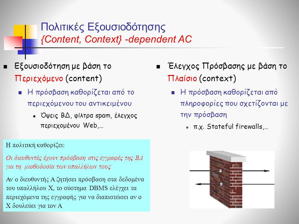 Πολιτικές Εξουσιοδότησης {Content, Context} -dependent AC