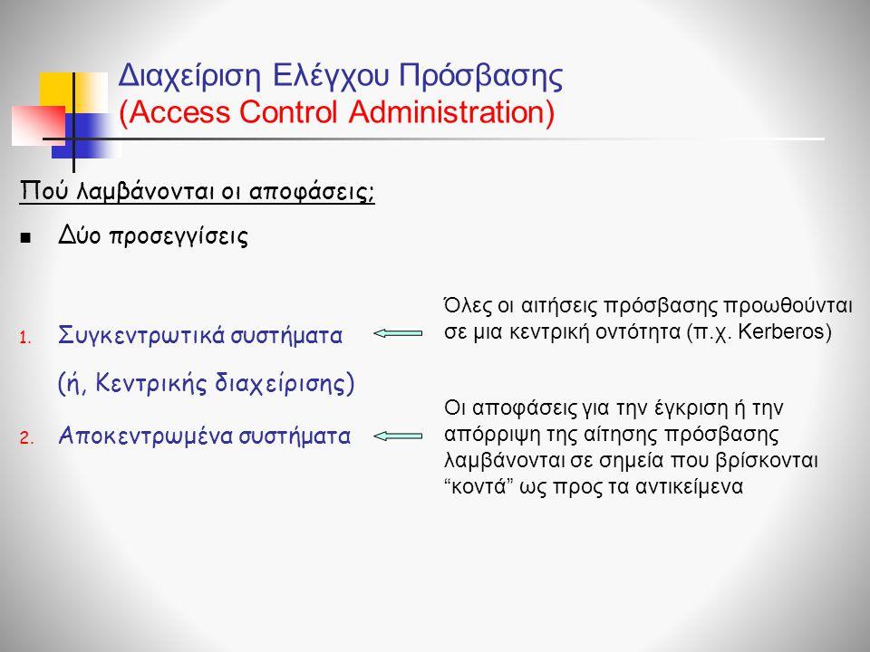 Διαχείριση Ελέγχου Πρόσβασης (Access Control Administration)