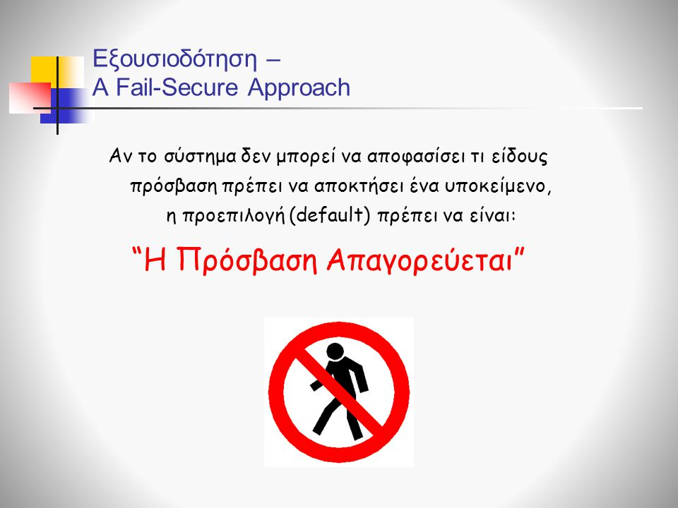 Εξουσιοδότηση – A Fail-Secure Αpproach