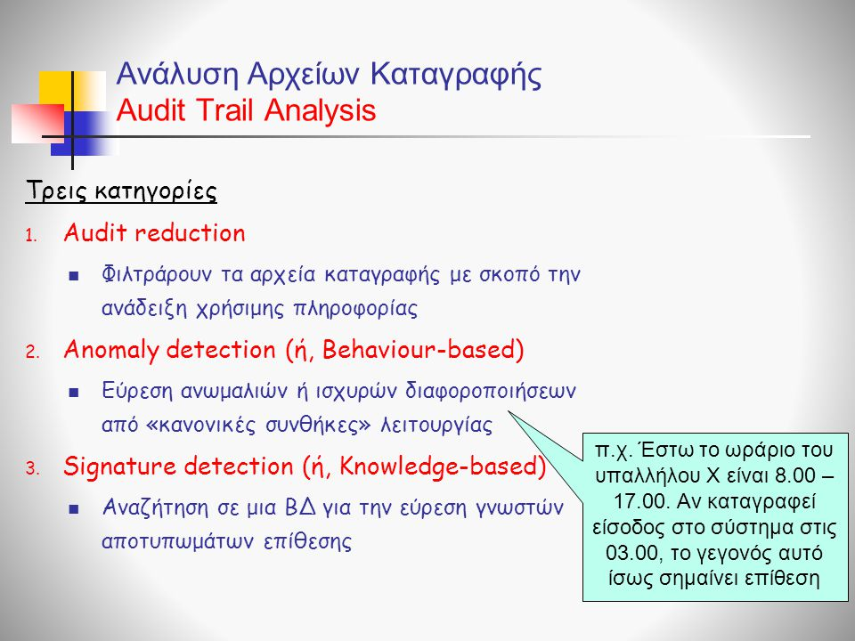 Ανάλυση Αρχείων Καταγραφής Audit Trail Analysis
