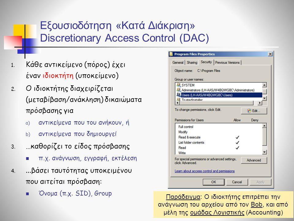 Εξουσιοδότηση «Κατά Διάκριση» Discretionary Access Control (DAC)