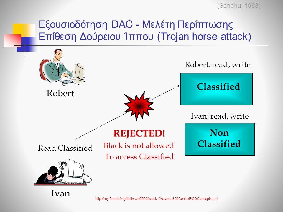 (Sandhu, 1993) Εξουσιοδότηση DAC - Μελέτη Περίπτωσης Επίθεση Δούρειου Ίππου (Trojan horse attack) Robert: read, write.