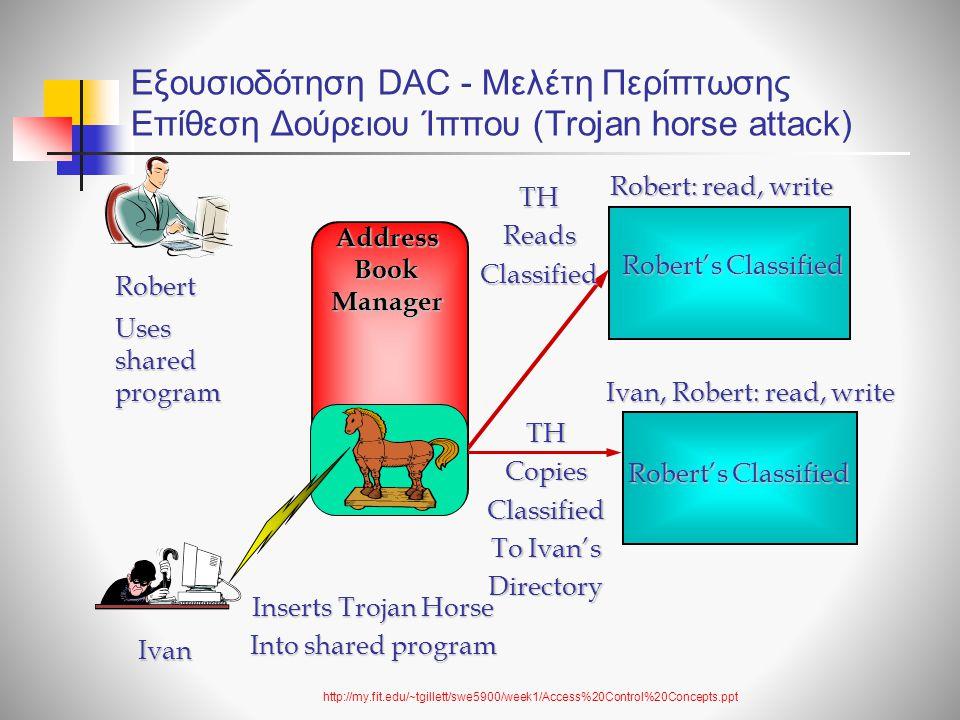 Εξουσιοδότηση DAC - Μελέτη Περίπτωσης Επίθεση Δούρειου Ίππου (Trojan horse attack)
