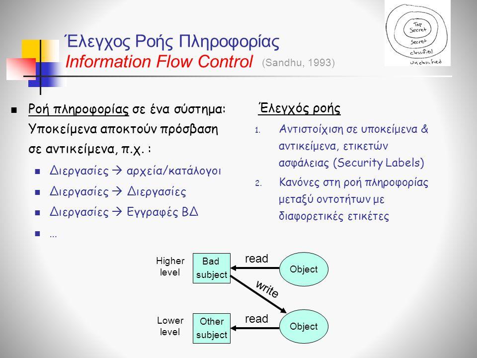 Έλεγχος Ροής Πληροφορίας Information Flow Control
