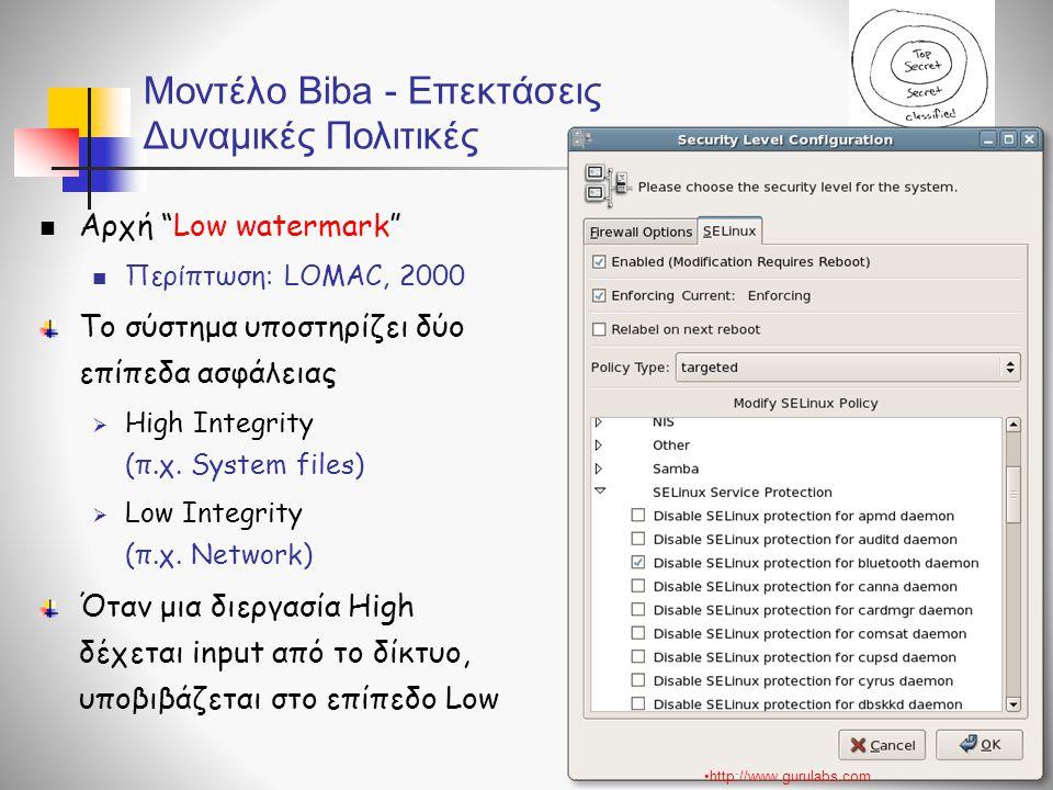 Μοντέλο Biba - Επεκτάσεις Δυναμικές Πολιτικές