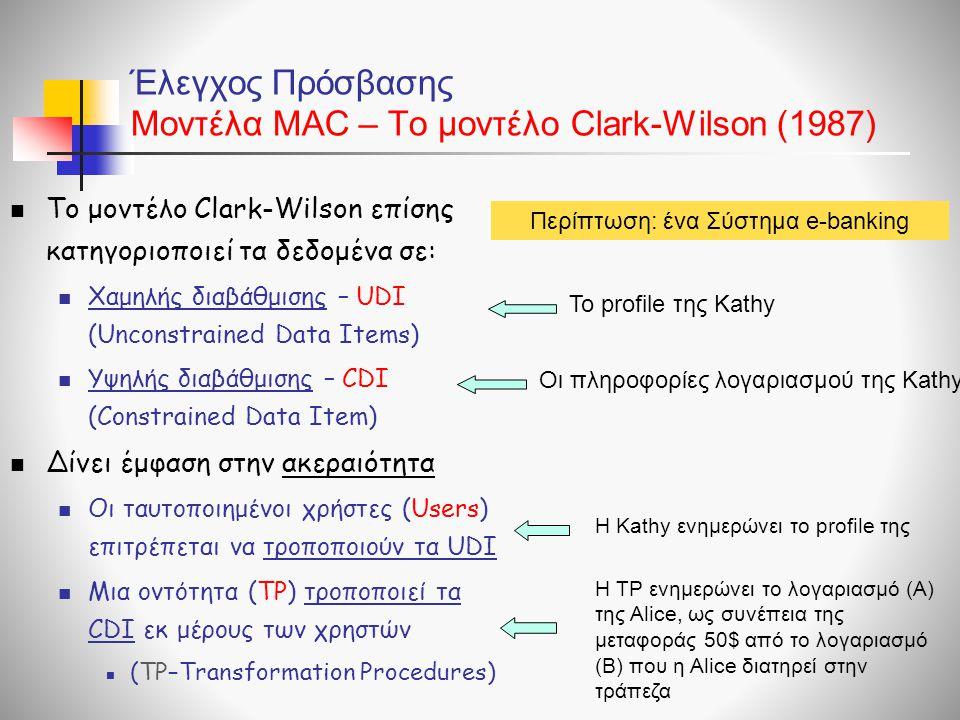 Έλεγχος Πρόσβασης Μοντέλα ΜAC – To μοντέλο Clark-Wilson (1987)