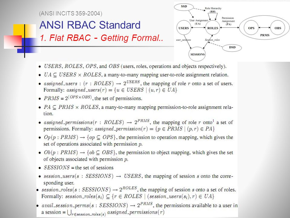 ANSI RBAC Standard 1. Flat RBAC - Getting Formal..