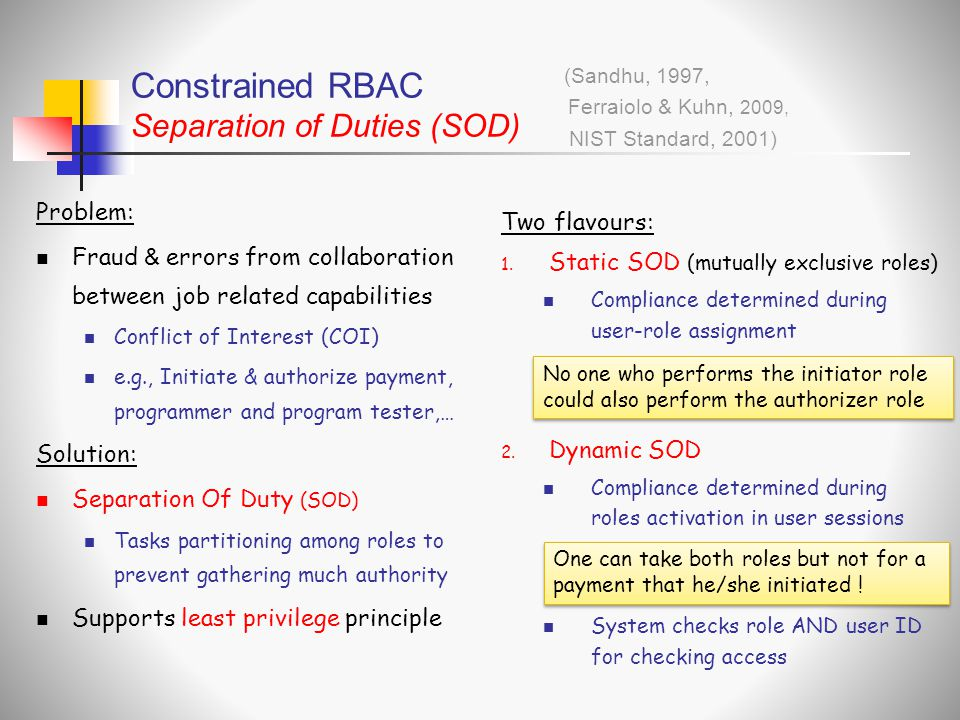 Constrained RBAC Separation of Duties (SOD)