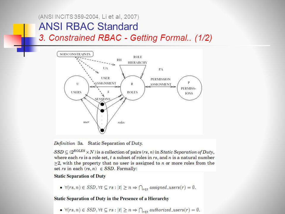 ANSI RBAC Standard 3. Constrained RBAC - Getting Formal.. (1/2)