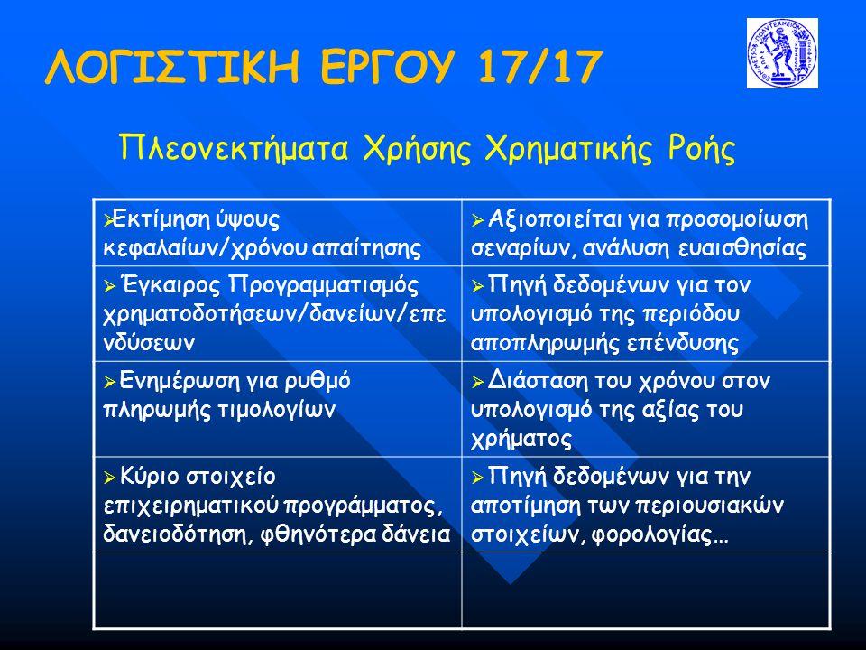 ΛΟΓΙΣΤΙΚΗ ΕΡΓΟΥ 17/17 Πλεονεκτήματα Χρήσης Χρηματικής Ροής