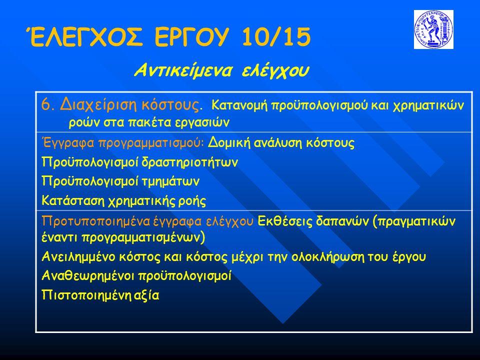 ΈΛΕΓΧΟΣ ΕΡΓΟΥ 10/15 Αντικείμενα ελέγχου