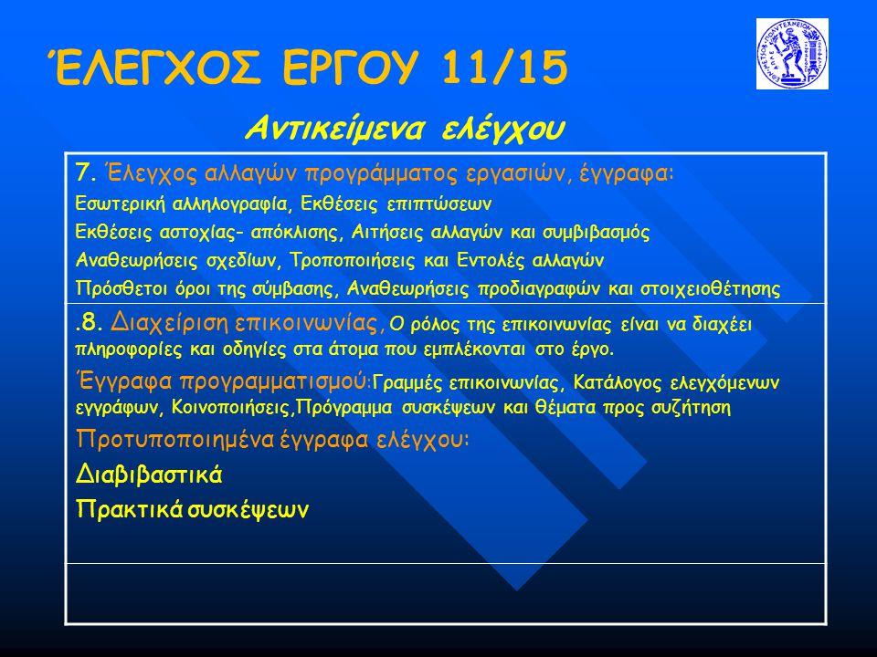 ΈΛΕΓΧΟΣ ΕΡΓΟΥ 11/15 Αντικείμενα ελέγχου