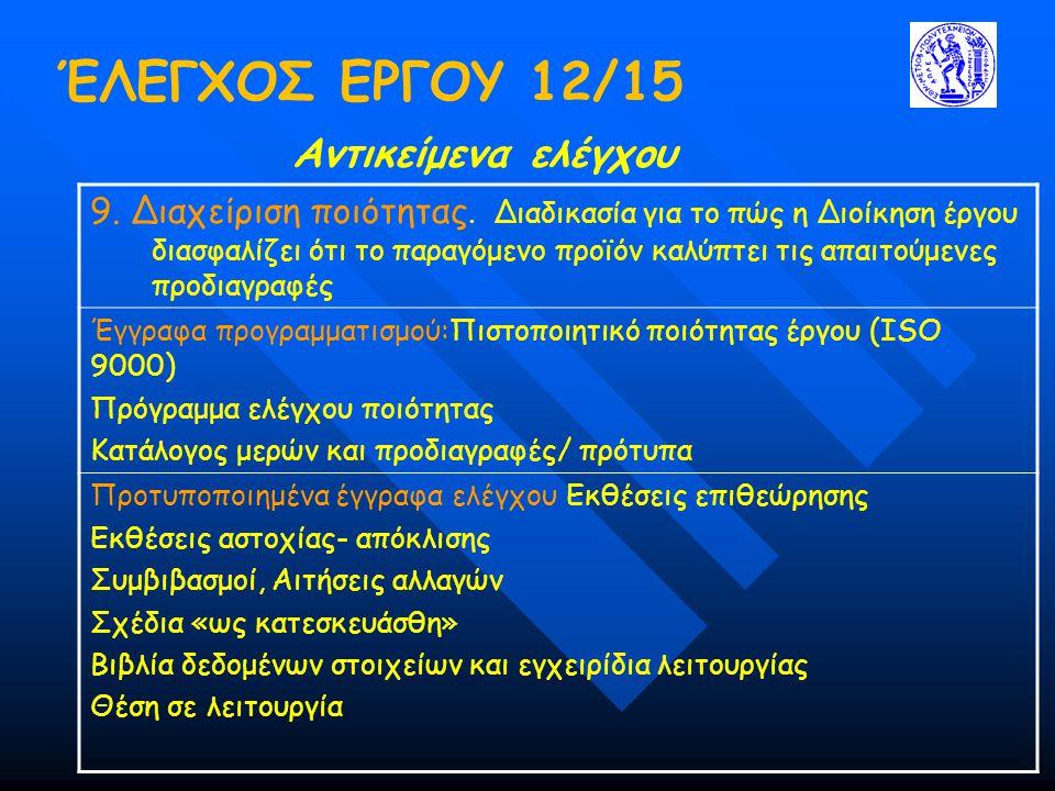 ΈΛΕΓΧΟΣ ΕΡΓΟΥ 12/15 Αντικείμενα ελέγχου