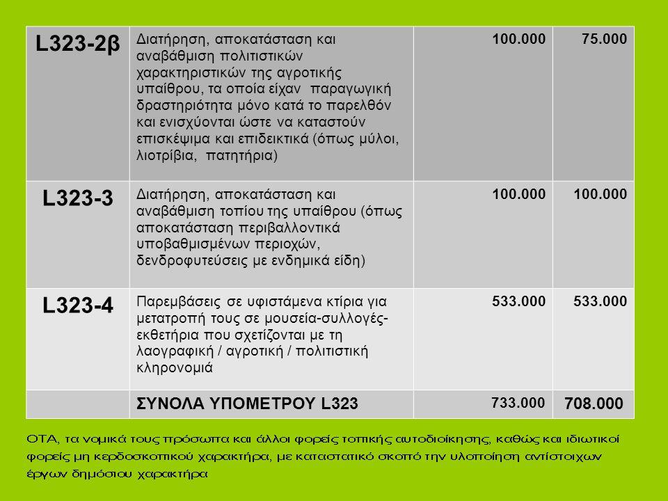 L323-2β L323-3 L323-4 ΣΥΝΟΛΑ ΥΠΟΜΕΤΡΟΥ L323 708.000