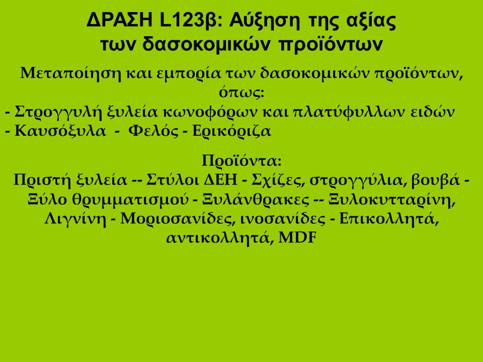 ΔΡΑΣΗ L123β: Αύξηση της αξίας των δασοκομικών προϊόντων