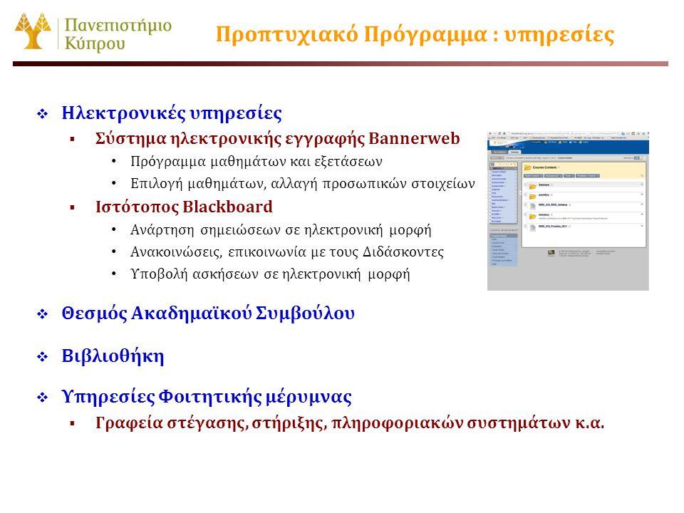 Προπτυχιακό Πρόγραμμα : υπηρεσίες