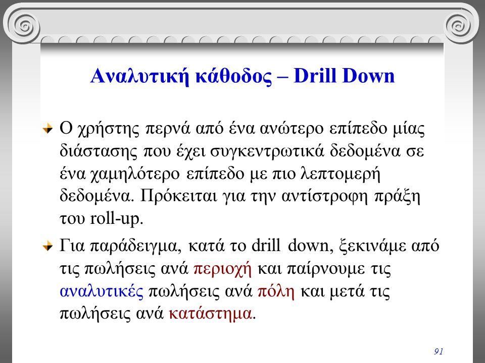Αναλυτική κάθοδος – Drill Down