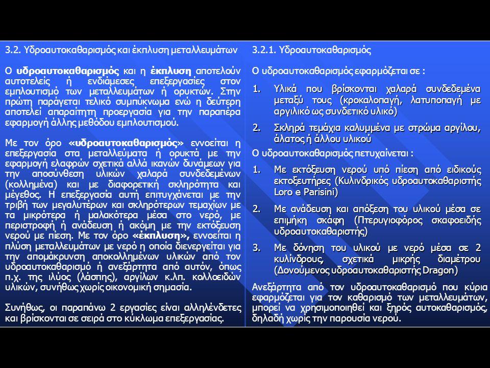 3.2. Υδροαυτοκαθαρισμός και έκπλυση μεταλλευμάτων