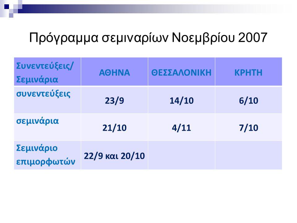 Πρόγραμμα σεμιναρίων Νοεμβρίου 2007