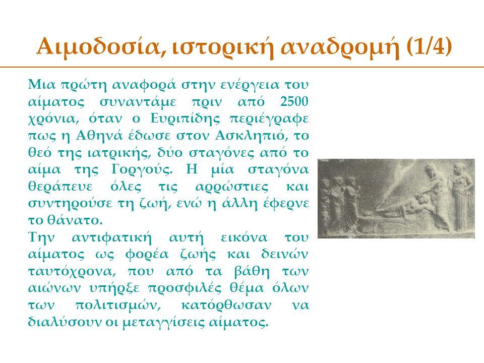 Αιμοδοσία, ιστορική αναδρομή (1/4)