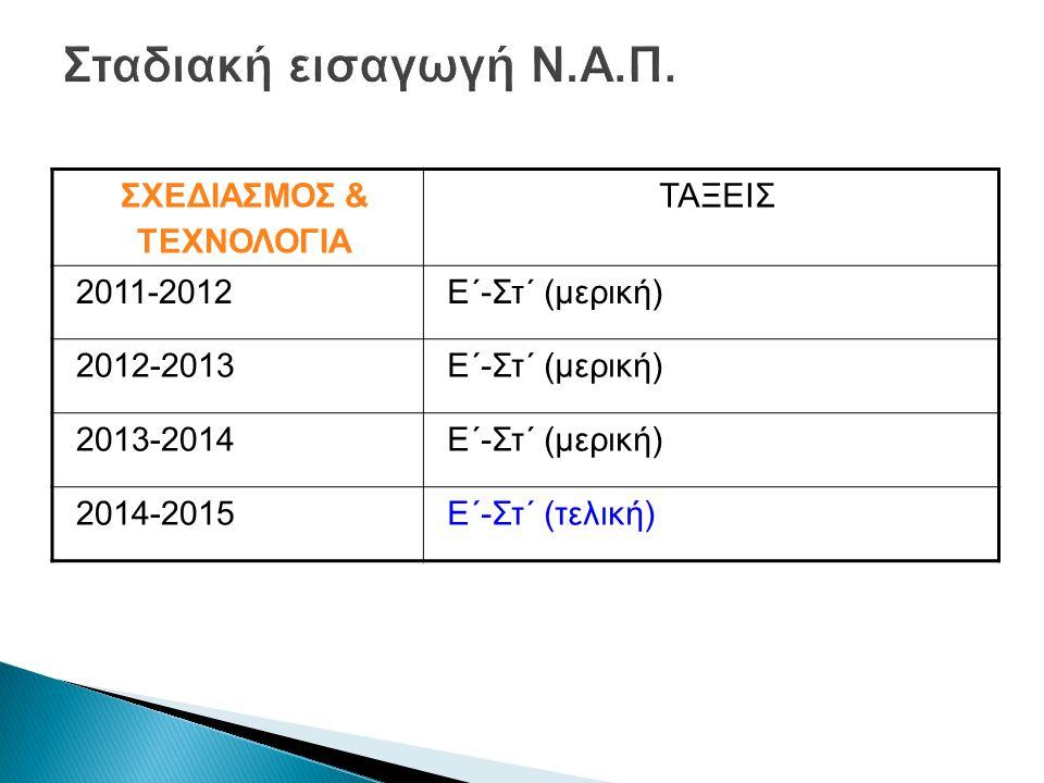 Σταδιακή εισαγωγή Ν.Α.Π. ΣΧΕΔΙΑΣΜΟΣ & ΤΕΧΝΟΛΟΓΙΑ ΤΑΞΕΙΣ 2011-2012