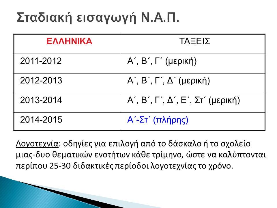 Σταδιακή εισαγωγή Ν.Α.Π. ΕΛΛΗΝΙΚΑ. ΤΑΞΕΙΣ. 2011-2012. Α΄, Β΄, Γ΄ (μερική) 2012-2013. Α΄, Β΄, Γ΄, Δ΄ (μερική)