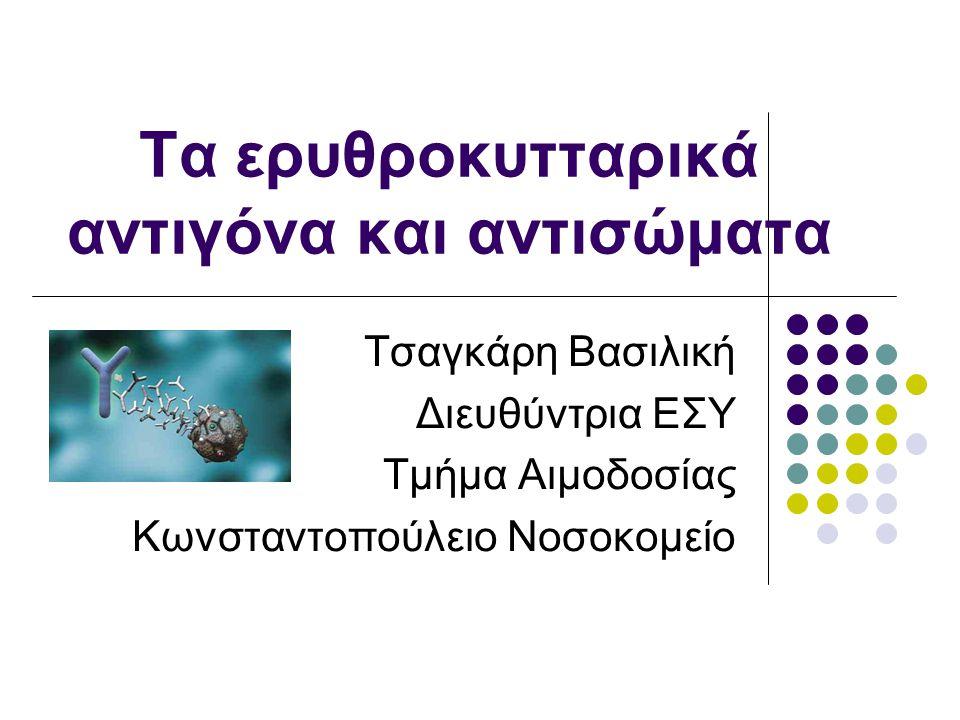 Τα ερυθροκυτταρικά αντιγόνα και αντισώματα