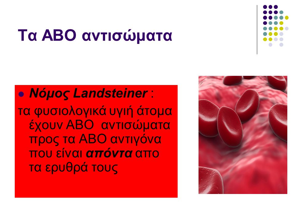 Τα ΑΒΟ αντισώματα Νόμος Landsteiner :