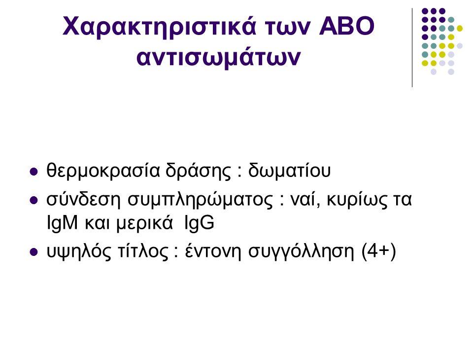 Χαρακτηριστικά των ΑΒΟ αντισωμάτων