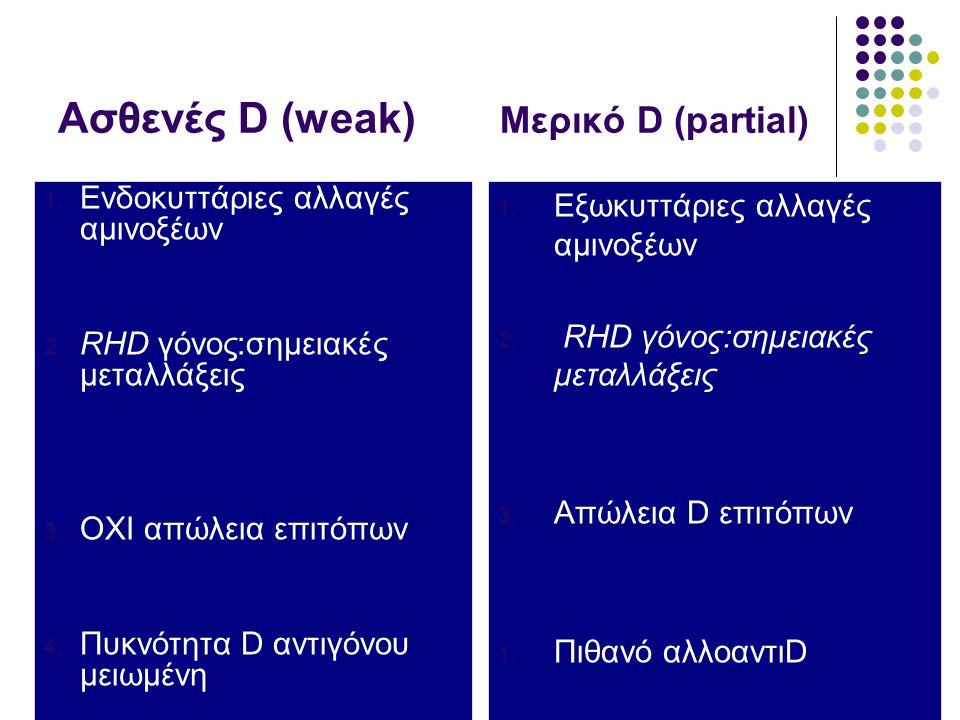 Ασθενές D (weak) Μερικό D (partial)