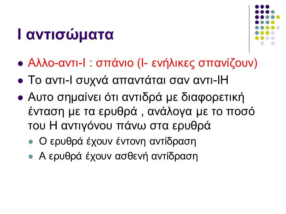Ι αντισώματα Αλλο-αντι-Ι : σπάνιο (Ι- ενήλικες σπανίζουν)