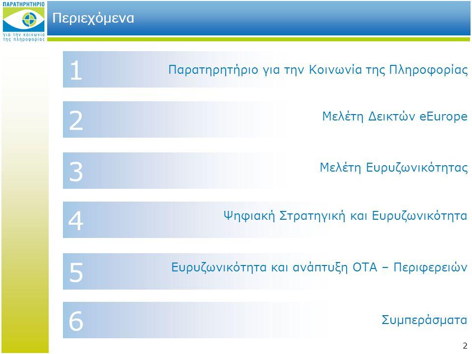 1 2 3 4 5 6 Περιεχόμενα Παρατηρητήριο για την Κοινωνία της Πληροφορίας