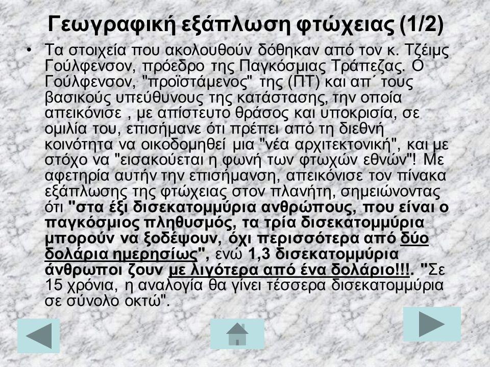 Γεωγραφική εξάπλωση φτώχειας (1/2)