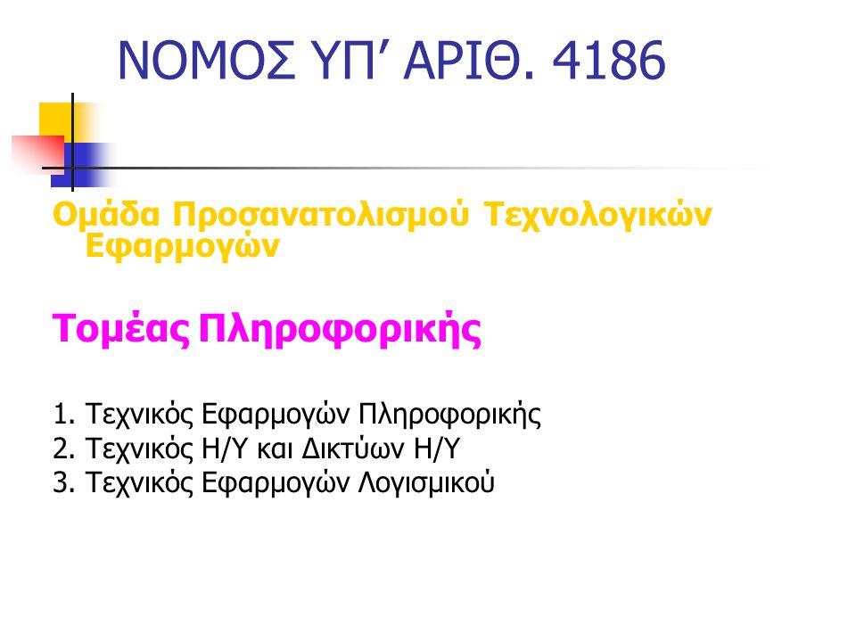 ΝΟΜΟΣ ΥΠ' ΑΡΙΘ. 4186 Τομέας Πληροφορικής