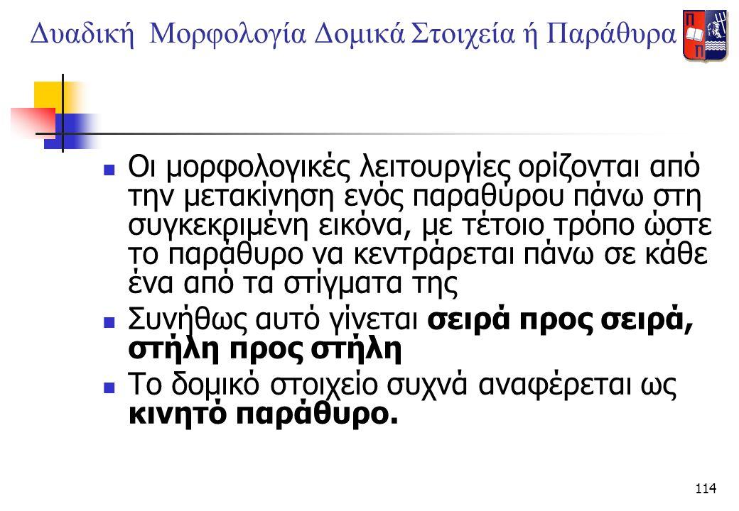 Δυαδική Μορφολογία Δομικά Στοιχεία ή Παράθυρα