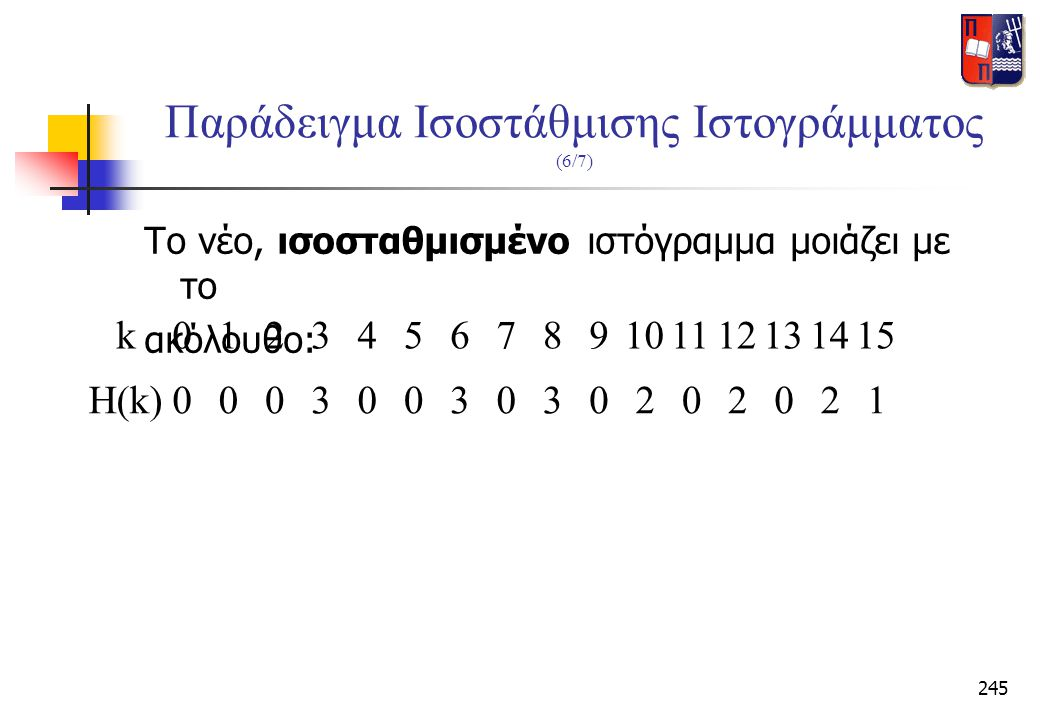 Παράδειγμα Ισοστάθμισης Ιστογράμματος (6/7)