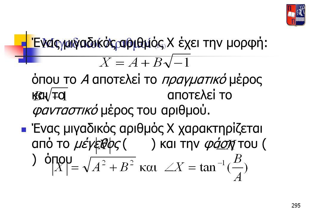 Μιγαδικοί Αριθμοί (1/3) Ένας μιγαδικός αριθμός Χ έχει την μορφή: