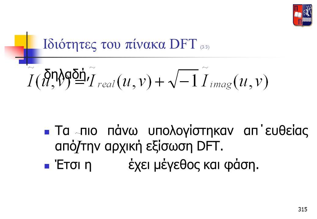 Ιδιότητες του πίνακα DFT (3/3)