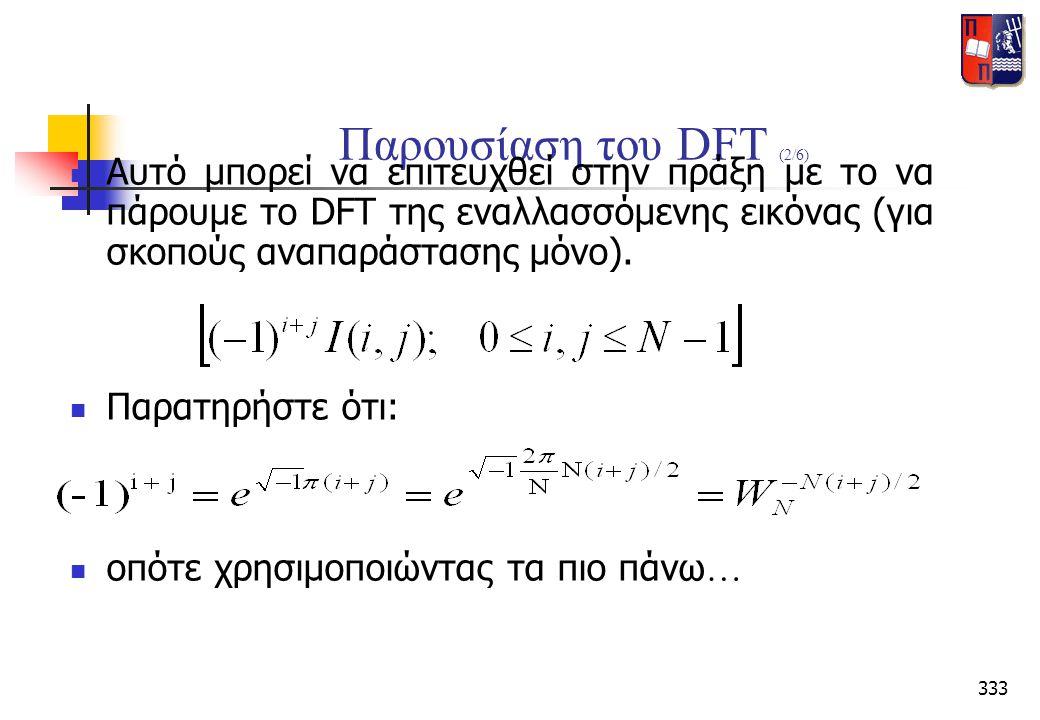 Παρουσίαση του DFT (2/6) Αυτό μπορεί να επιτευχθεί στην πράξη με το να πάρουμε το DFT της εναλλασσόμενης εικόνας (για σκοπούς αναπαράστασης μόνο).
