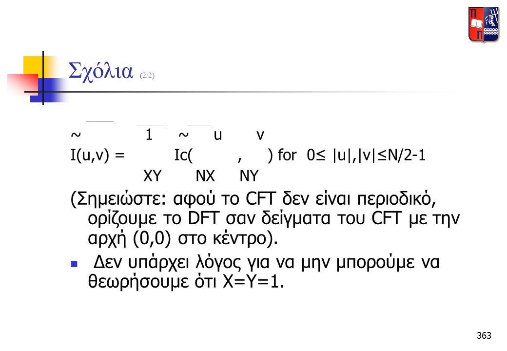 Σχόλια (2/2) ~ 1 ~ u v. I(u,v) = Ic( , ) for 0≤  u , v ≤N/2-1.