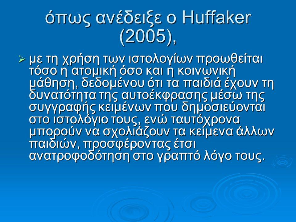 όπως ανέδειξε ο Huffaker (2005),