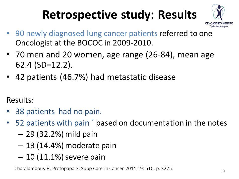 Retrospective study: Results