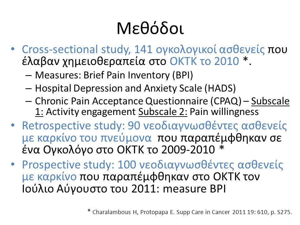 Μεθόδοι Cross-sectional study, 141 ογκολογικοί ασθενείς που έλαβαν χημειοθεραπεία στο ΟΚΤΚ το 2010 *.