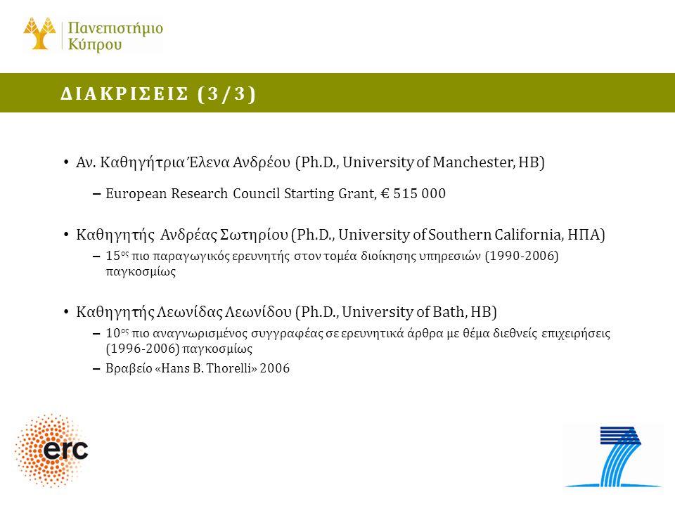 ΔΙΑΚΡΙΣΕΙΣ (3/3) Αν. Καθηγήτρια Έλενα Ανδρέου (Ph.D., University of Manchester, ΗΒ) European Research Council Starting Grant, € 515 000.